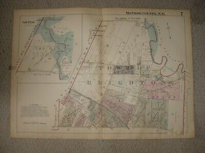 Huge Vintage Antique 1924 Brighton Monroe County New York Handcolored Map Rare