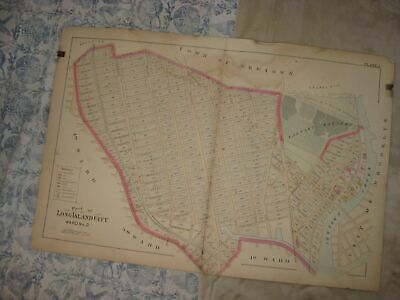 Huge Vintage Antique 1891 Long Island City Ward 2 New York Handcolored Map Rare