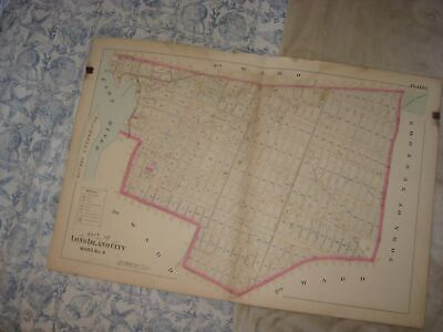 Huge Vintage Antique 1891 Long Island City Ward 4 New York Handcolored Map Rare