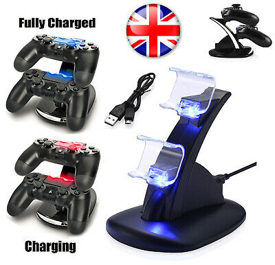 PlayStation PS4 Controller LED Charger Dock Station Dual USB Fast Charging UK