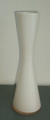 Lovely White Bud Vase With Peach Shaded Glass
