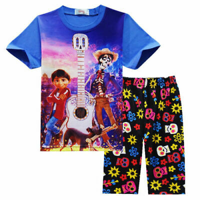 Cute Kids Boy Girl Film Coco Short Sleeve Cotton T-shirt Shorts Outwear Outsuits