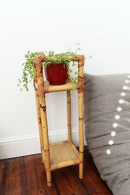 Vintage Mid Century Plant Stand Table Boho Rattan Cane Wicker Bamboo 60s 70s