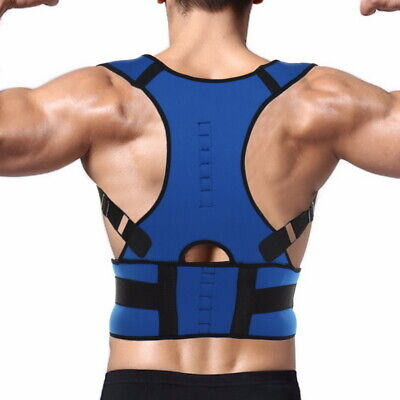 Neoprene Magnetic Posture Corrector Belt Bad Back Brace Shoulder Support Blue