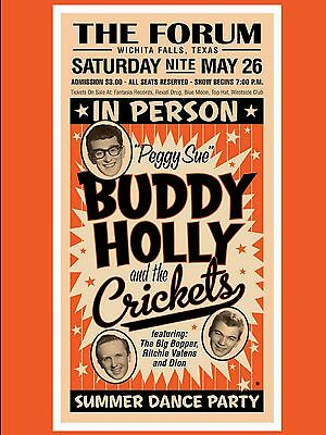 """Buddy Holly and the Crickets The Forum 16"""" x 12"""" Photo Repro Concert Poster"""