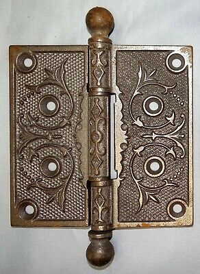 Antique Eastlake Ornate Cast Iron Door Hinge 4 1/2 x 4 1/2 Victorian Hardware