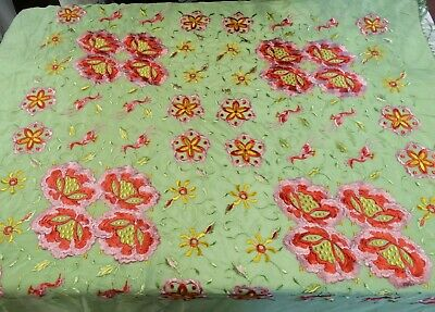 1920's Flapper EMBROIDERED SILK PIANO SHAWL Vibrant Flowers Birds Long Fringe