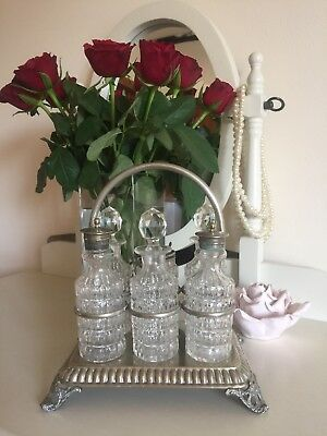 Walker and Hall Silver Plated And Cut Crystal Condiment Set