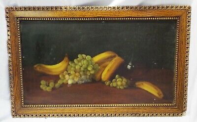 Antique Bananas Green Grapes Still Life Fruit Oil Painting