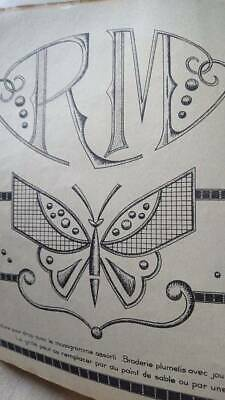 GORGEOUS ANTIQUE FRENCH DOWRY EMBROIDERY PATTERN BOOK WITH MONOGRAMS c1930