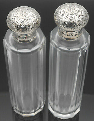 PAIR of VICTORIAN STERLING SILVER CUT GLASS SCENT BOTTLES / FLASKS 1886 ANTIQUE