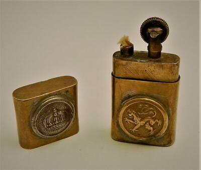 Antique French WWI Brass Trench Art Lighter With Copper Coin & Buttons Applied