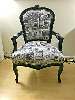 Retro Style Chair with Vintage Superman Comic Leatherette Upholstery & Black Car