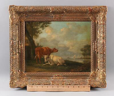 Antique 18thC Signed Oil Painting, Country Cow Farm Landscape & Harbor, NR