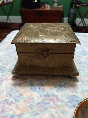 Antique Art Nouveau Brass Metal Jewelry Box Footed and Velvet Lined