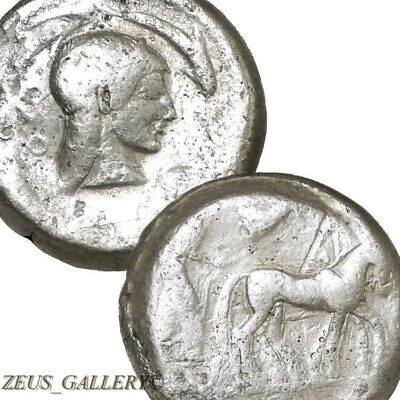 SYRACUSE ARETHUSA Dolphin Nike Chariot Ancient Greek Silver Tetradrachm Coin R!