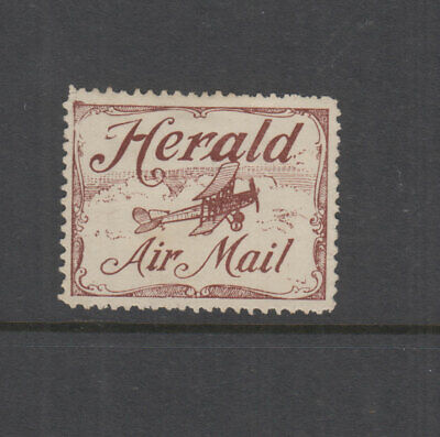 AUSTRALIA 1921 (-) Brown HERALD Airmail Vignette-Cinderella-Frommer 3a Cat $125