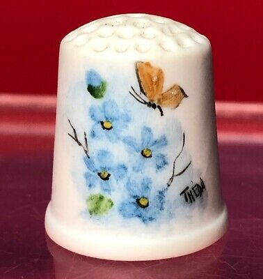 Vintage Thimble Hand Painted Butterfly Blue Flowers  Porcelain Bisque Theda 80's