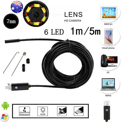 6LED 2 in 1 Endoscope Borescope Cam Inspection HD Camera for Android PC