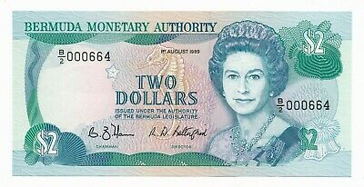 Bermuda 2 Dollars $2 QEII 1989 UNC Note P. 34 / 34b Low # 000664