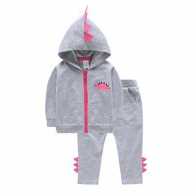 Toddler Kids Baby Girls Dinosaur Hoodies Tops Pants Tracksuit Outfits Costume