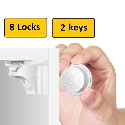 Invisible Magnetic Drawer Locker Baby Safety Cabinet Cupboard Door Catch Locks