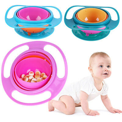 Baby Kids Toddler Spill-Proof Food Gyro Feeding Bowl Dish 360 Degree Rotatation