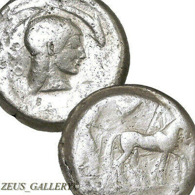 SYRACUSE ARETHUSA Dolphin Nike Chariot Ancient Greek Silver Tetradrachm Coin R
