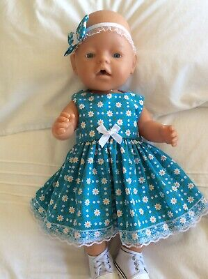 """Doll Clothes to fit 17"""" Baby Born doll ~ Dress & hband  ~ White Daisies On Turqu"""