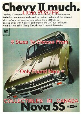 "CHEVROLET NOVA SS 1968 Chevy II Much CAR Automobile = POSTER 8 Sizes 18"" - 36"""