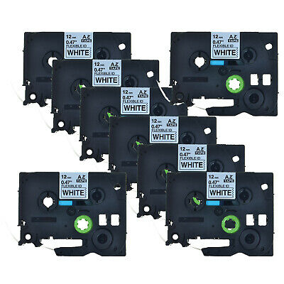 8PK Black on White Flexible Label Tape For Brother P-Touch TZ TZe-Fx231 12mm*8m