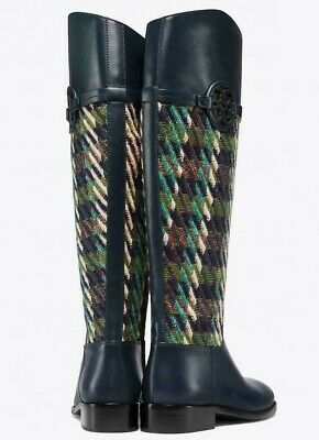 f7ec51f96b8 New  568 Tory Burch MILLER RIDING BOOT Navy Green Dogtooth Tweed 7.5 or 9  NIB