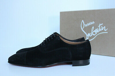 cheap for discount 472fc 5301a SZ 12 US / 45 Christian Louboutin Greggo Flat Black Suede Leather Oxford  Shoes