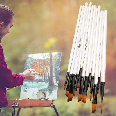 12Pcs Oil Painting Brushes Set Acrylic Watercolor Artist Art Paint Craft Tools
