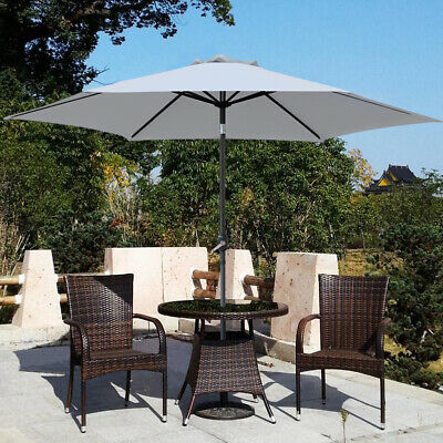 2.5M Parasol Outdoor Garden Patio Sunshade Crank Aluminium Round Umbrella Grey