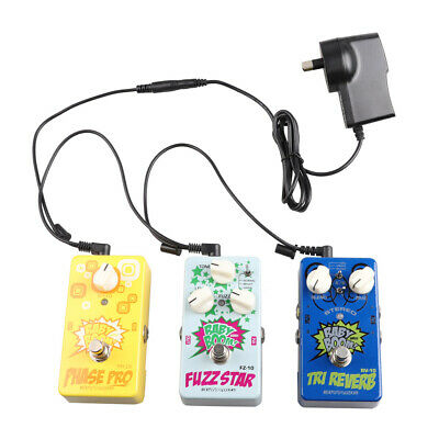 Guitar Pedal Power Supply Adapter AU DC 9V + 3 Way Splitter Cable Cords + 3 Caps