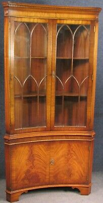 Reprodux Bevan Funnell Mahogany Concave Corner Cabinet No 2
