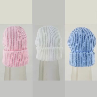 Wholesale joblot quality Pesci Baby knitted hats x 10 New blue white pink 0-3-6m