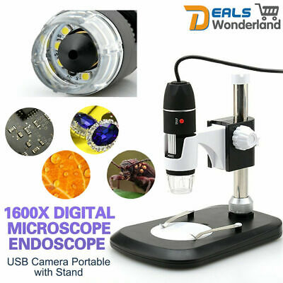 1600X USB Digital Microscope Endoscope Magnifier Electronic 8 LED + Lift Stand