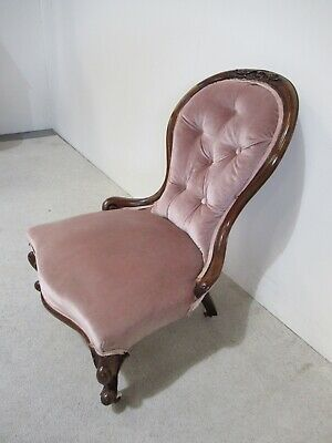 Antique Victorian Mahogany Ladies Bedroom Chair Library Chair Spoon Back Chair