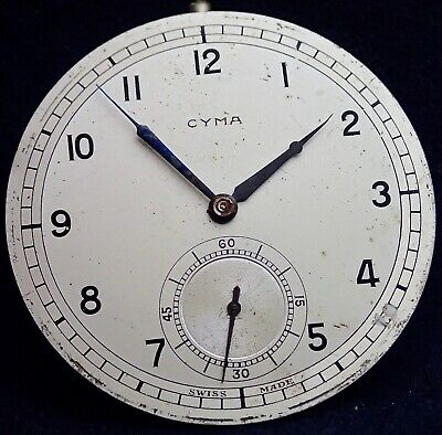 Art Deco CYMA  Patent Swiss Anti-Magnetic Pocket Watch Movement circa 1930`s