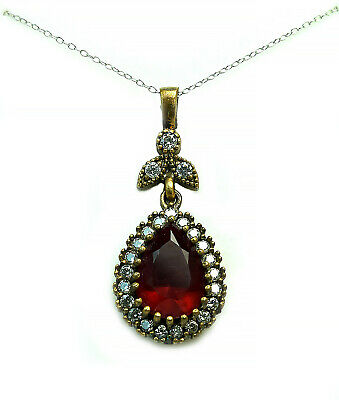 Pear Shaped Garnet CZ Halo Pendant Necklace Sterling Silver Vermeil 16 inch