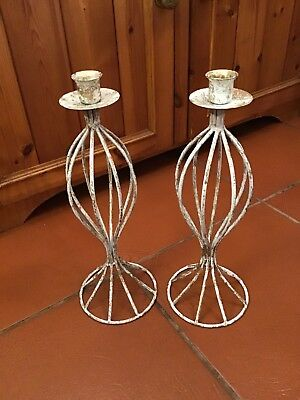 """Pair Of White And Brushed Gold Metal Candlesticks 12.5"""" Tall  #W/B"""