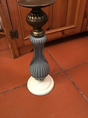 """Unusual Antique Style Pillar Candle Holder Metal And Glass 12 1/4"""" Tall #B"""