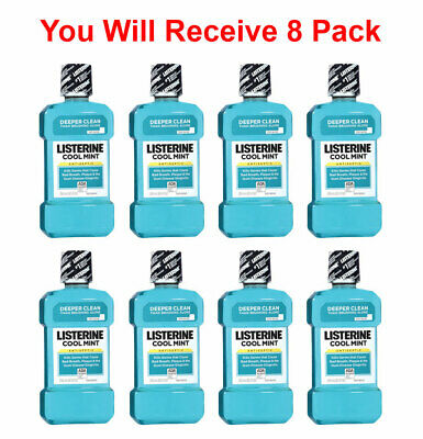 8x Listerine Mouthwash Cool Mint for Bad Breath, Plaque & Gingivitis 250ml 8.5oz