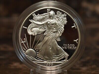 1999 American Silver Eagle Proof $1 Coin w/ Mint Packaging Brilliant Cameo Proof