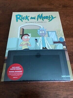 Rick and Morty: The Complete Seasons 1-3 (DVD) - NEW w/poster