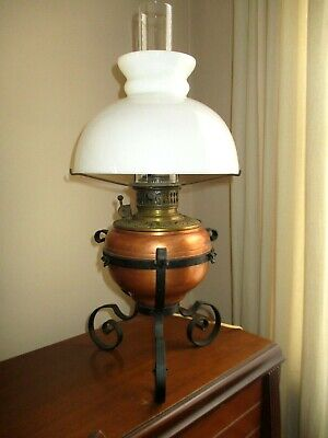 Antique Converted Oil Table Lamp Electrified Dated 1897 Copper Brass