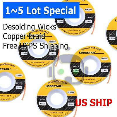 2.0mm Desoldering Braid Wick Solder Remover w/ No Residue Rosin Flux 5 FT