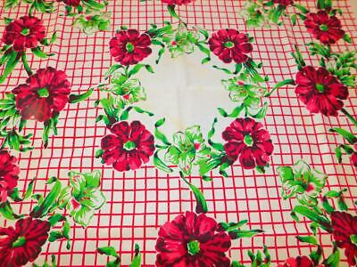 """Vintage STARTEX Cotton Linen Printed TABLECLOTH HUGE PINK FLORAL 54x51"""" Tagged"""